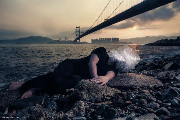 Selfportrait at Tsing Ma Bridge Hong Kong